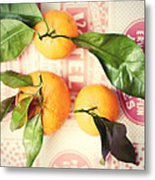 Three Tangerines Metal Print