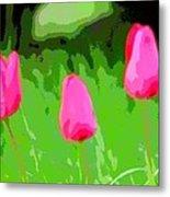 Three Tulips - Painting Like Metal Print