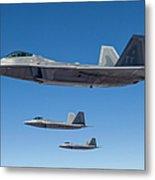 Three U.s. Air Force F-22 Raptors Metal Print