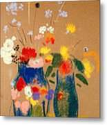 Three Vases Of Flowers Metal Print by Odilon Redon