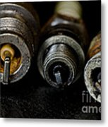 Three Vintage Rusty Spark Plugs  Metal Print by Wilma  Birdwell