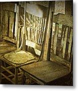 Three Vintage Wooden Chairs Metal Print