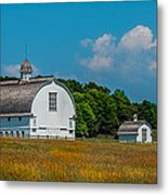 Three White Barns Metal Print