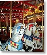 Three White Ponies Metal Print