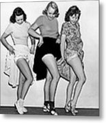 Three Women Lift Their Skirts Metal Print by Underwood Archives