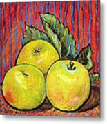 Three Yellow Apples Metal Print