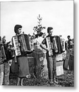 Three Young Accordion Players Metal Print