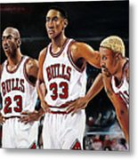Threepeat - Chicago Bulls - Michael Jordan Scottie Pippen Dennis Rodman Metal Print by Prashant Shah