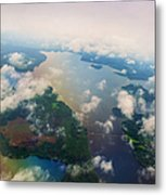 Through The Clouds. Rainbow Earth Metal Print by Jenny Rainbow
