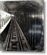 Through The Last Subway Car Window 3 Metal Print