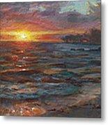 Through The Vog - Hawaii Beach Sunset Metal Print