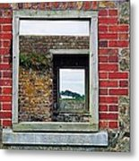 Through Windows At Charles Fort, Ireland Metal Print