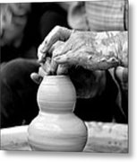 Throwing On The Pottery Wheel Metal Print