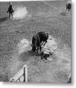 Thrown Bull Rider Rodeo Tohono O'odham Reservation Sells Arizona 1969  Metal Print