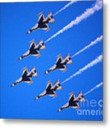 Thunderbirds Jet Team Flying Fast Metal Print