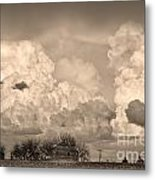 Thunderstorm Clouds And The Little House On The Prairie Sepia Metal Print