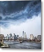 Thunderstorm Over Manhattan Downtown Metal Print