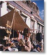 Tibet Market At Gyantse By Jrr Metal Print