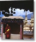 Tibetan Monk With Scroll On Jokhang Roof Metal Print