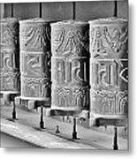 Tibetan Prayer Wheels - Black And White Metal Print