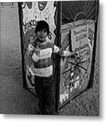Ticket Booth Traveling Carnival Us Mexico Border Naco Sonora Mexico 1980 Metal Print