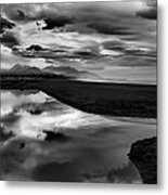 Tidal Pond Sunset New Zealand In Black And White Metal Print