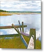 Tide And Fence Oil Metal Print