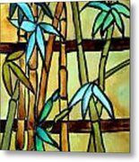 Stained Glass Tiffany Bamboo Panel Metal Print