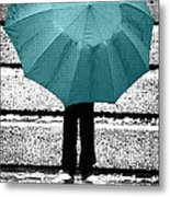 Tiffany Blue Umbrella Metal Print
