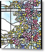 Stained Glass Tiffany Floral Skylight - Fenway Gate Metal Print