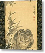 Tiger And Bamboo Metal Print
