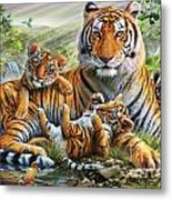 Tiger And Cubs Metal Print by Adrian Chesterman