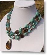 Tiger Eye And Turquoise Triple Strand Necklace 3640 Metal Print