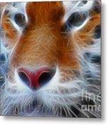 Tiger Face Fractal Metal Print