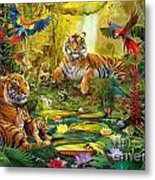 Tiger Family In The Jungle Metal Print by Jan Patrik Krasny