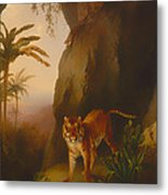 Tiger In A Cave Metal Print