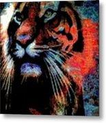 Tiger In The Mist Metal Print