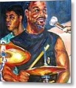 Tiger On Drums Metal Print