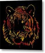 Tiger Watercolor - Black Metal Print