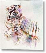 Tiger With Cub Watercolor Metal Print