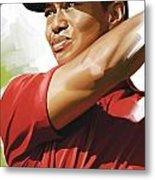Tiger Woods Artwork Metal Print
