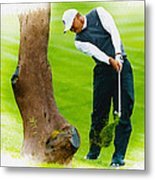 Tiger Woods Hits A Shot From The Rough Metal Print