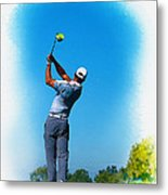 Tiger Woods Plays His Tee Shot On The 15th Hole Metal Print