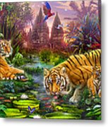 Tigers At The Ancient Stream Metal Print by Jan Patrik Krasny