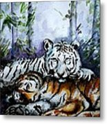 Tigers-mother And Child Metal Print