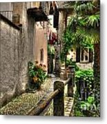 Tight Alley With Palm Trees Metal Print