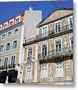 Tiled Building In Chiado District Of Lisbon Metal Print