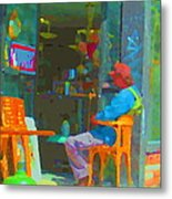 Tim Hortons Coffee And Donuts Sunday Aternoon At Tims Plateau Montreal Cafe Scene Carole Spandau Metal Print