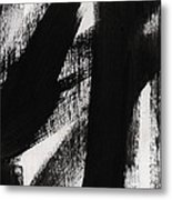 Timber- Vertical Abstract Black And White Painting Metal Print
