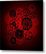 Time Clock Gears Clipart On Red Background Metal Print